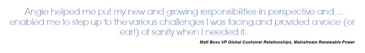 Matt Boss VP Global Customer Relationships, Mainstream Renewable Power, testimonial for Angie Ruane Coaching